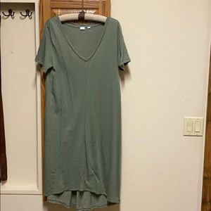 V neck olive green T-shirt dress